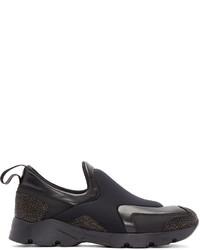 schwarze Slip-On Sneakers aus Leder von MM6 MAISON MARGIELA