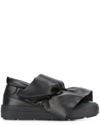 schwarze Slip-On Sneakers aus Leder von MSGM
