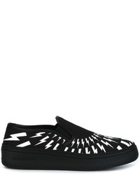 schwarze Slip-On Sneakers aus Leder von Neil Barrett