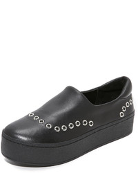 schwarze Slip-On Sneakers aus Leder von Opening Ceremony