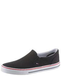 schwarze Slip-On Sneakers aus Leder von Tommy Jeans