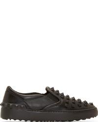schwarze Slip-On Sneakers aus Leder von Valentino