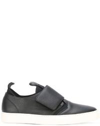 schwarze Slip-On Sneakers aus Leder von Z Zegna