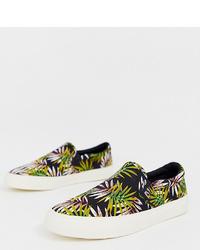 schwarze Slip-On Sneakers aus Segeltuch mit Blumenmuster von ASOS DESIGN