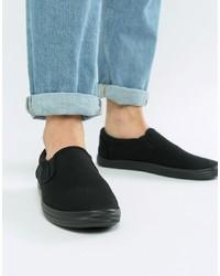 schwarze Slip-On Sneakers aus Segeltuch von ASOS DESIGN