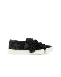 schwarze Slip-On Sneakers aus Segeltuch von Marc Jacobs