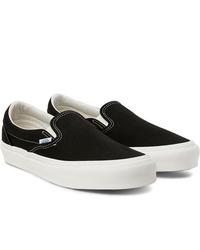 schwarze Slip-On Sneakers aus Segeltuch von Vans