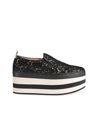 schwarze Slip-On Sneakers aus Spitze von Gucci