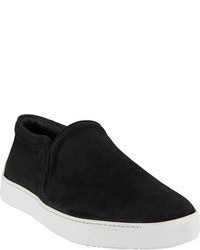 schwarze Slip-On Sneakers aus Wildleder