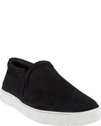 Schwarze Slip-On Sneakers aus Wildleder