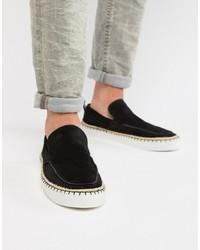 schwarze Slip-On Sneakers aus Wildleder von ASOS DESIGN
