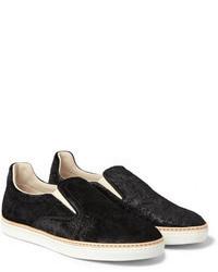 schwarze Slip-On Sneakers aus Wildleder von Maison Martin Margiela