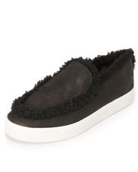 schwarze Slip-On Sneakers aus Wildleder von Vince
