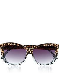 schwarze Sonnenbrille mit Leopardenmuster von Le Specs
