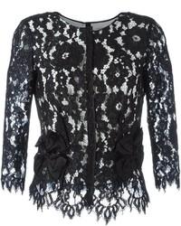 schwarze Spitze Bluse mit Blumenmuster von Marc Jacobs