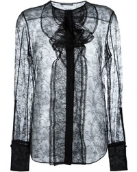 schwarze Spitze Langarmbluse von Alexander McQueen