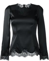 schwarze Spitze Langarmbluse von Dolce & Gabbana