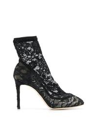 schwarze Spitze Stiefeletten von Dolce & Gabbana