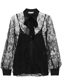 schwarze Spitzebluse mit knöpfen von Emilio Pucci