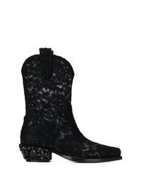 schwarze Stiefeletten aus Netzstoff von Dolce & Gabbana