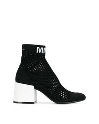 schwarze Stiefeletten aus Netzstoff von MM6 MAISON MARGIELA