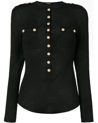 schwarze Strick Bluse von Balmain