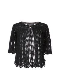 schwarze Strick Strickjacke mit einer offenen Front von Dolce & Gabbana