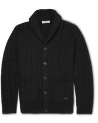 schwarze Strickjacke mit einem Schalkragen von Burberry