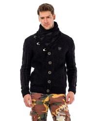 schwarze Strickjacke mit einem Schalkragen von Cipo & Baxx