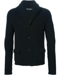 schwarze Strickjacke mit einem Schalkragen von Dolce & Gabbana