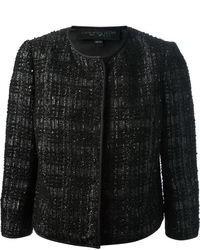 schwarze Tweed-Jacke