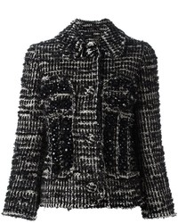schwarze Tweed-Jacke von Simone Rocha