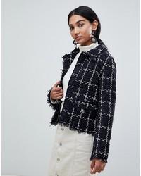 schwarze Tweed-Jacke von Warehouse