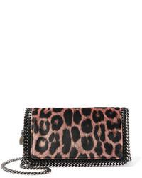 schwarze Umhängetasche mit Leopardenmuster von Stella McCartney