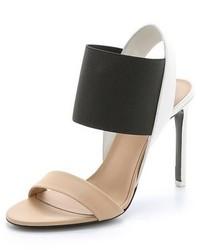 schwarze und gelbbraune Leder Sandaletten von Vince
