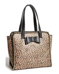 schwarze und gelbbraune Shopper Tasche aus Leder mit Leopardenmuster