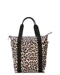 schwarze und gelbbraune Shopper Tasche aus Leder mit Leopardenmuster von Kate Spade