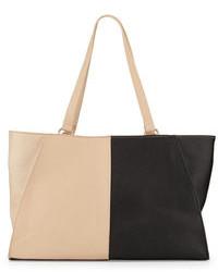 schwarze und gelbbraune Shopper Tasche aus Leder