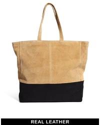 schwarze und gelbbraune Shopper Tasche aus Leder von Asos