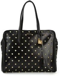 schwarze und goldene beschlagene Shopper Tasche aus Leder
