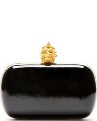schwarze und goldene Leder Clutch von Alexander McQueen