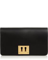 schwarze und goldene Leder Clutch von Sophie Hulme
