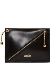 schwarze und goldene Leder Clutch von Undercover
