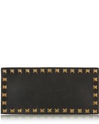 schwarze und goldene Leder Clutch von Valentino