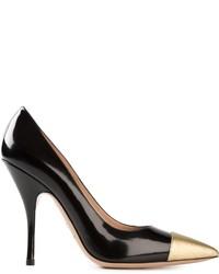 Schwarze und goldene Leder Pumps von Giorgio Armani