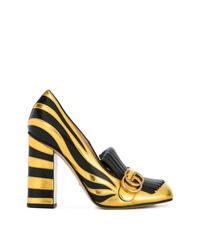 schwarze und goldene Leder Pumps von Gucci
