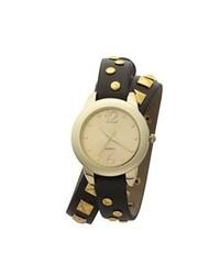 schwarze und goldene Leder Uhr