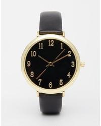 schwarze und goldene Leder Uhr von Asos