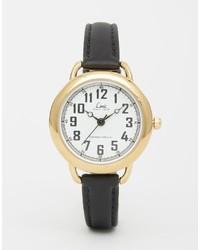 schwarze und goldene Leder Uhr von Limit