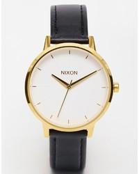 schwarze und goldene Leder Uhr von Nixon